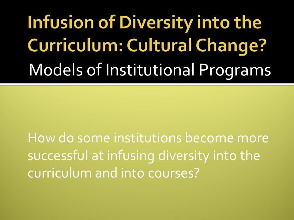 Infusion of Diversity into the Curriculum: Cultural Change