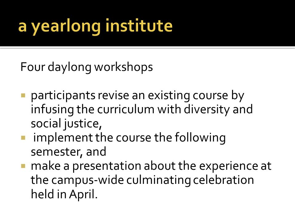 a yearlong institute Four daylong workshops