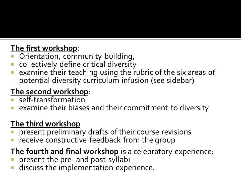 The first workshop: Orientation, community building, collectively define critical diversity.