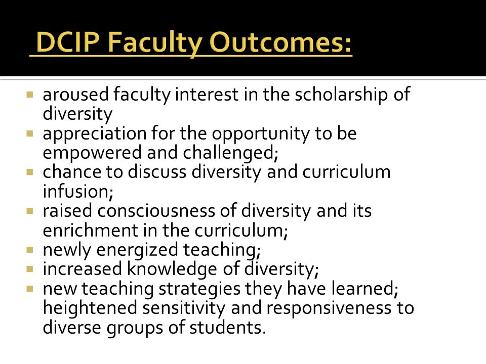 DCIP Faculty Outcomes: