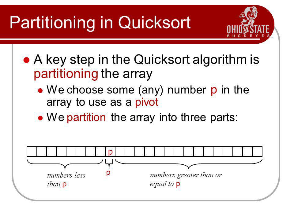 Partitioning in Quicksort