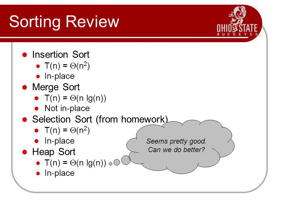 Sorting Review Insertion Sort Merge Sort