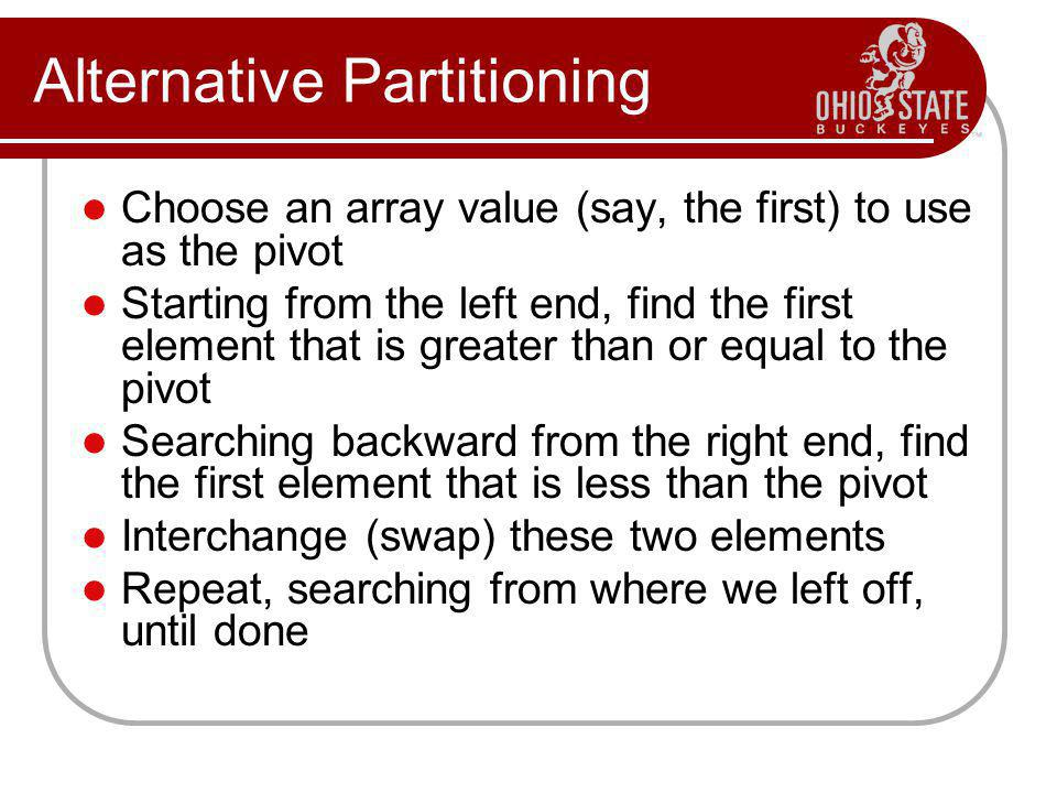 Alternative Partitioning