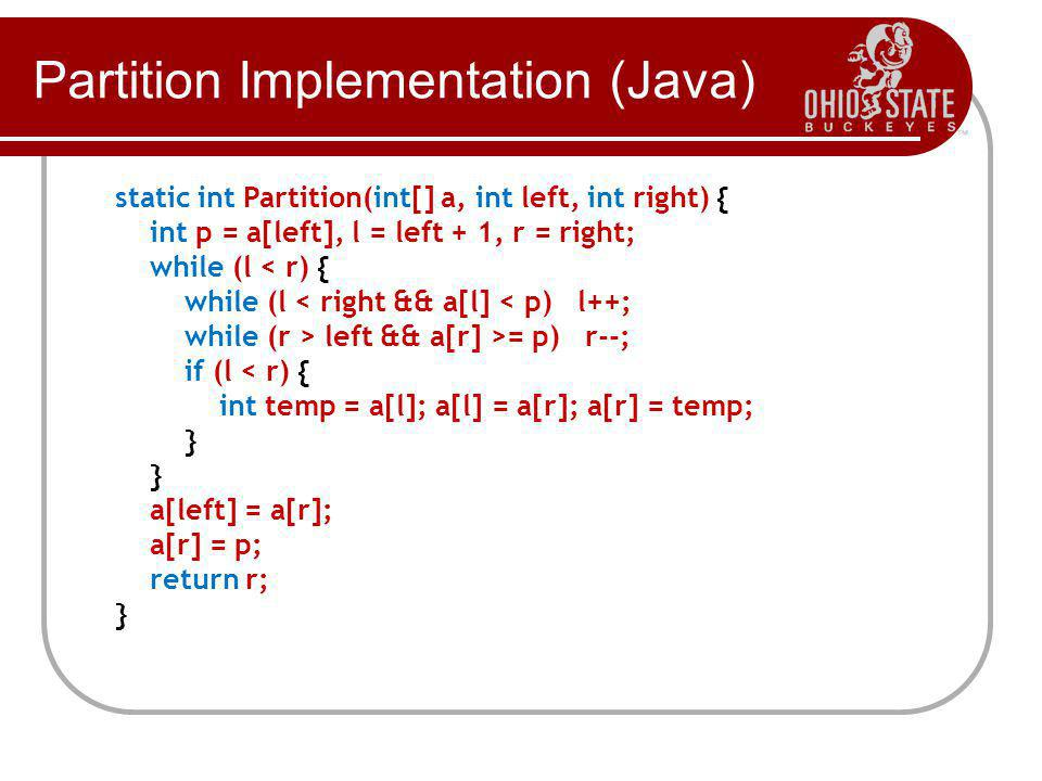 Partition Implementation (Java)