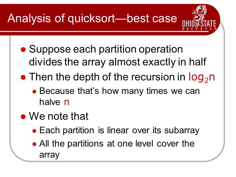 Analysis of quicksort—best case