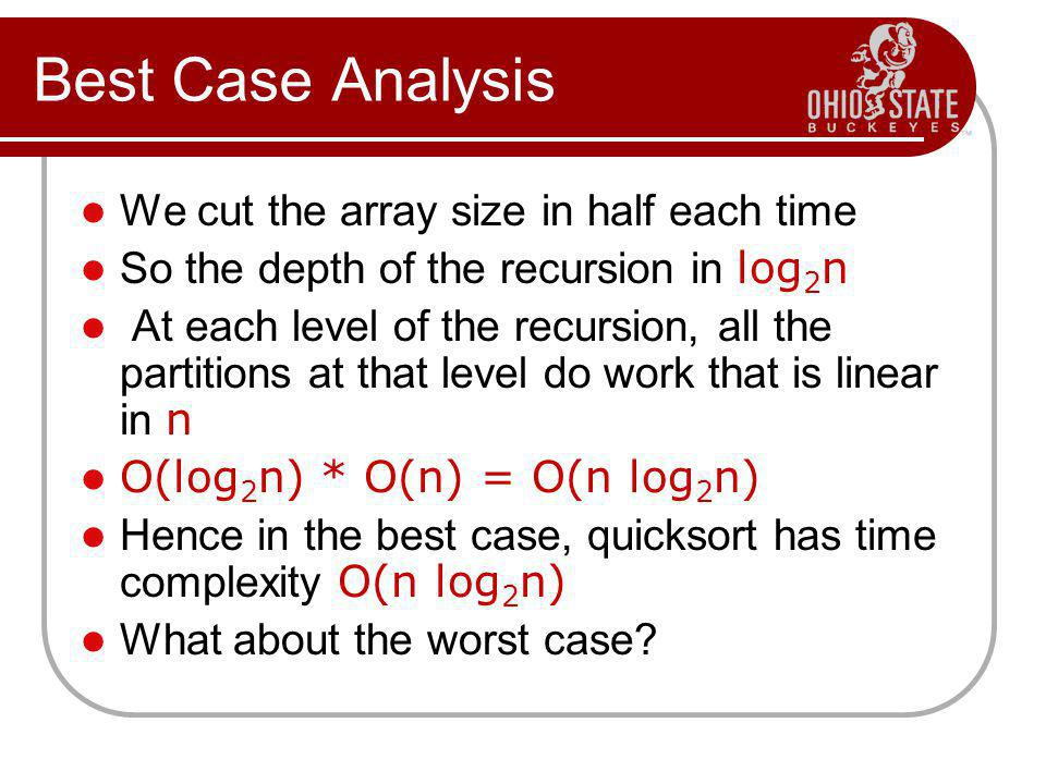 Best Case Analysis We cut the array size in half each time