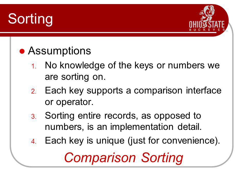 Sorting Comparison Sorting Assumptions