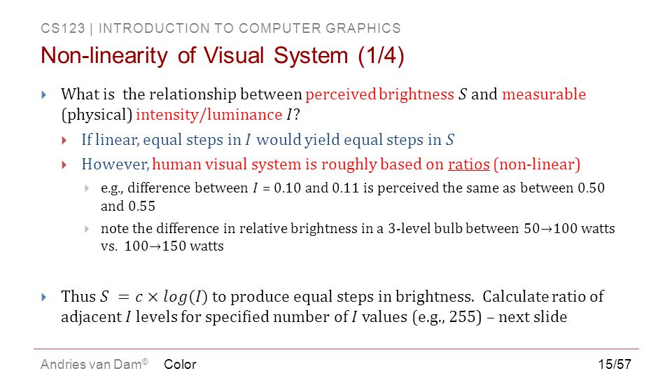 Non-linearity of Visual System (1/4)