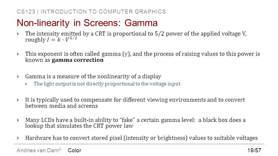 Non-linearity in Screens: Gamma