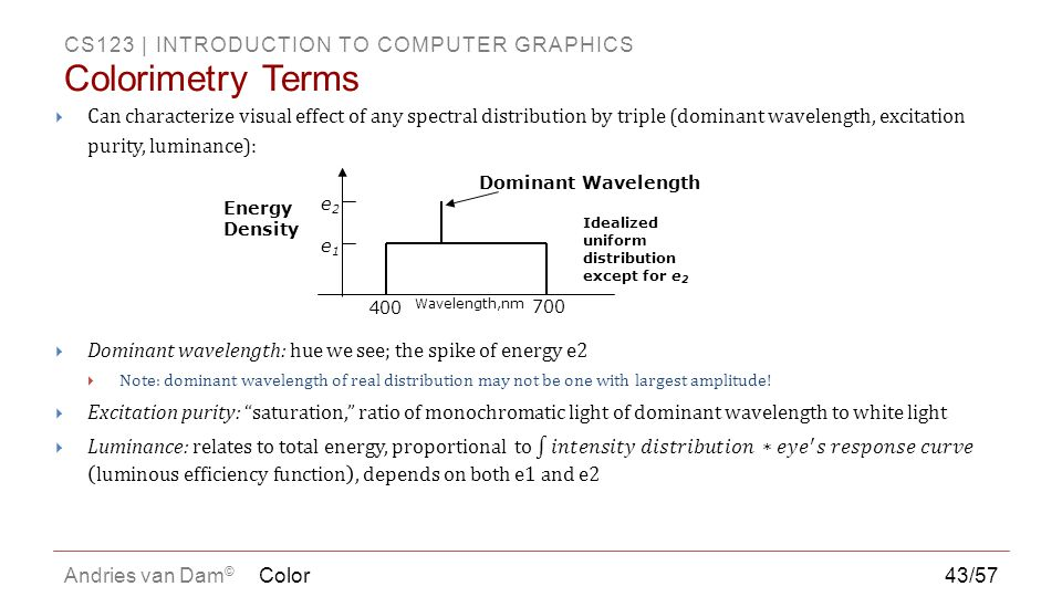 Colorimetry Terms Can characterize visual effect of any spectral distribution by triple (dominant wavelength, excitation purity, luminance):