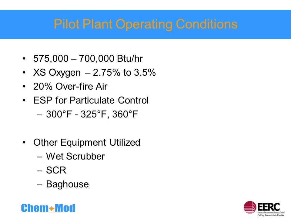 Pilot Plant Operating Conditions