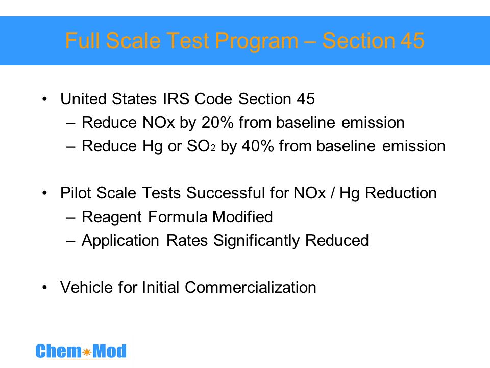 Full Scale Test Program – Section 45