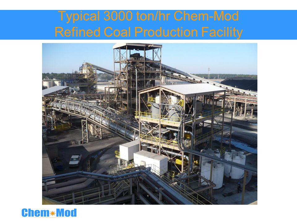 Typical 3000 ton/hr Chem-Mod Refined Coal Production Facility