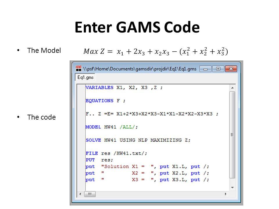 Enter GAMS Code The Model The code