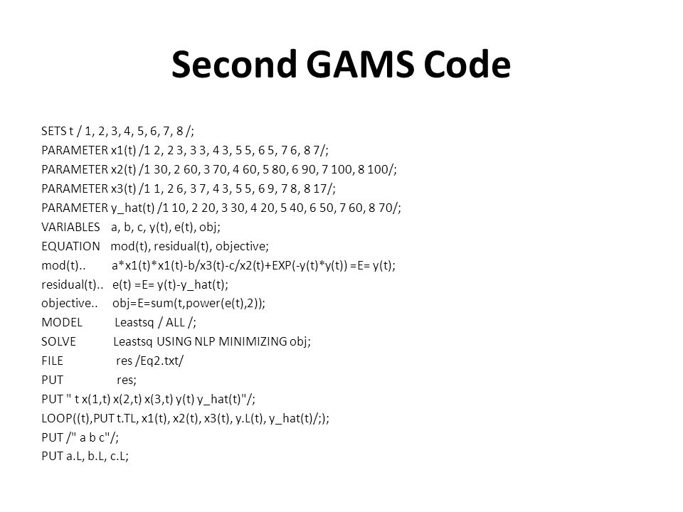 Second GAMS Code