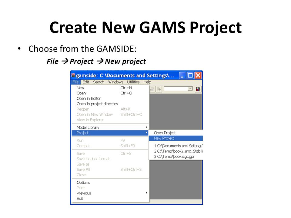 Create New GAMS Project