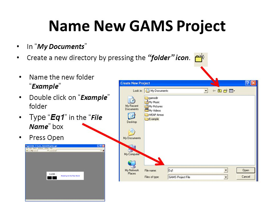 Name New GAMS Project In My Documents