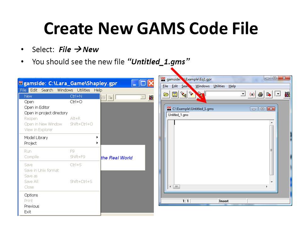 Create New GAMS Code File