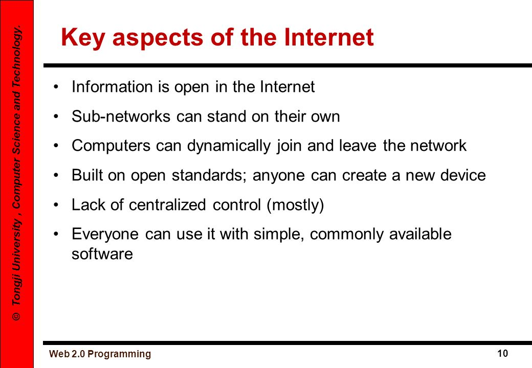 Key aspects of the Internet