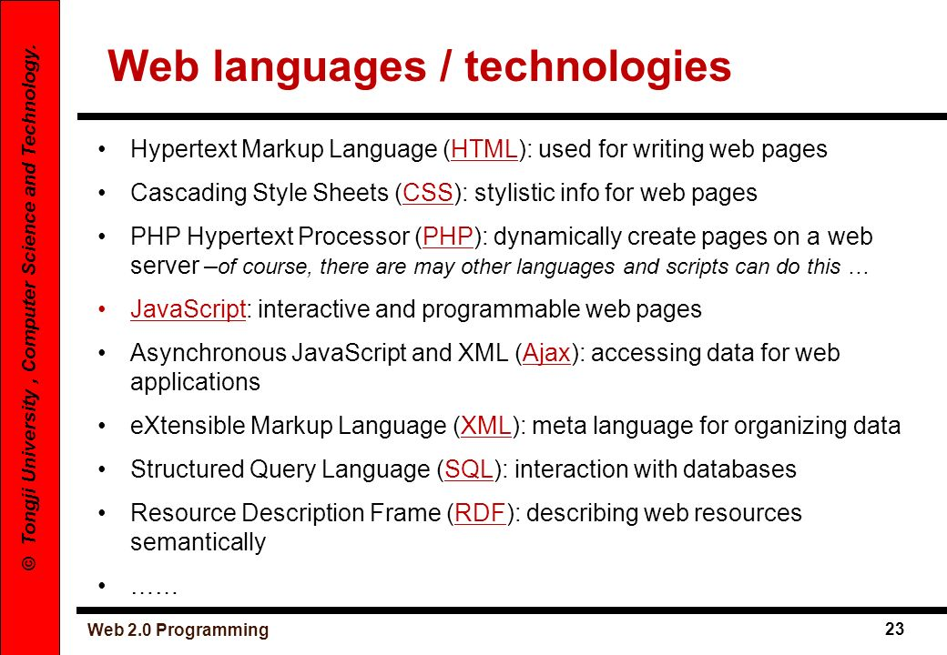 Web languages / technologies