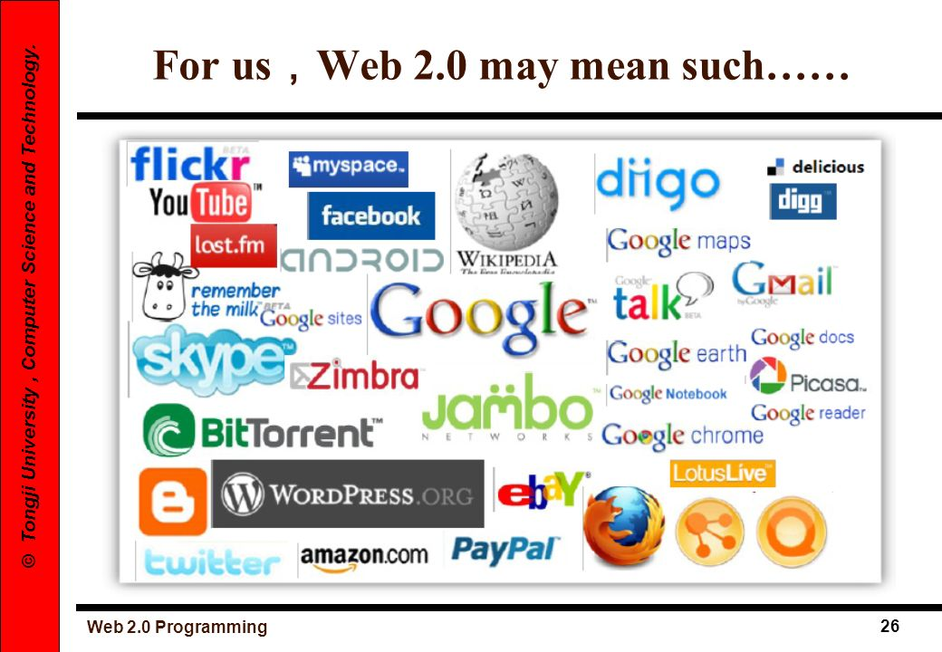 For us,Web 2.0 may mean such……