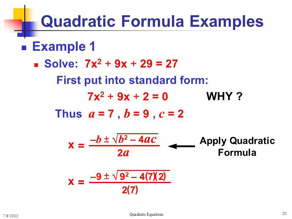 Solving Quadratic Equations Solving Quadratic Equations ...