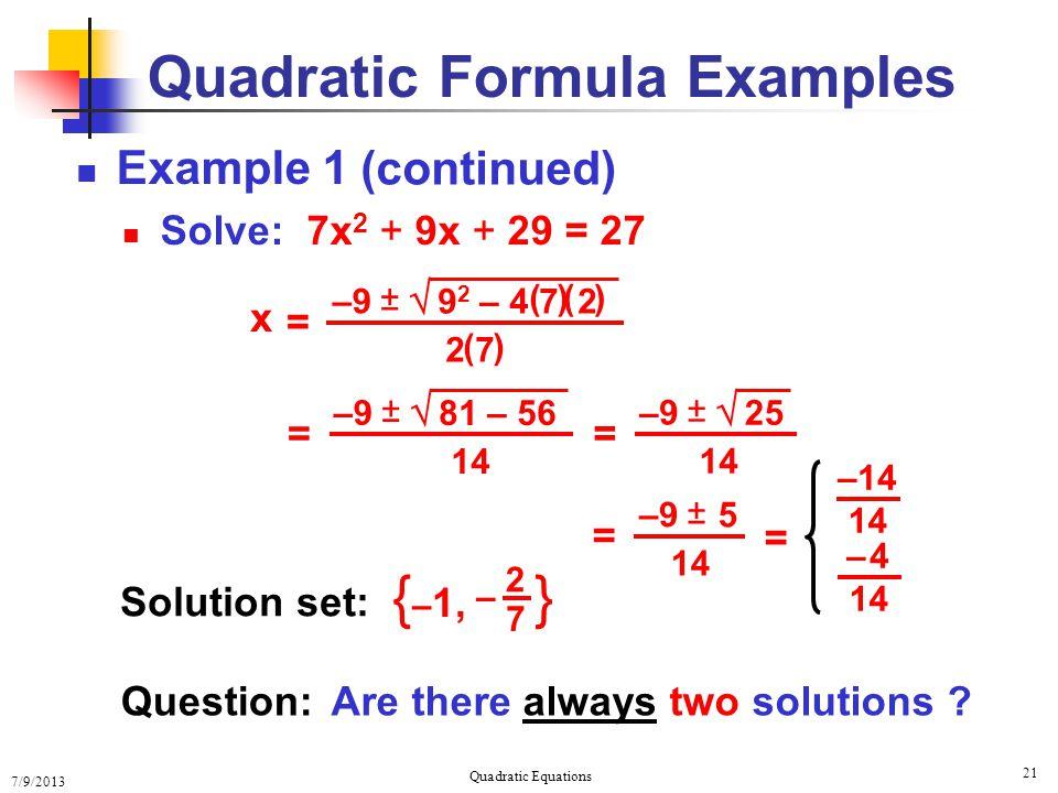 Quadratic Formula Examples