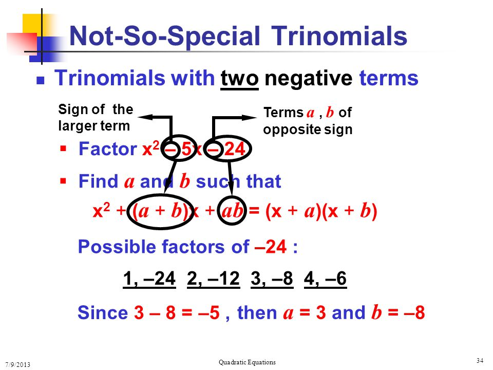 Not-So-Special Trinomials