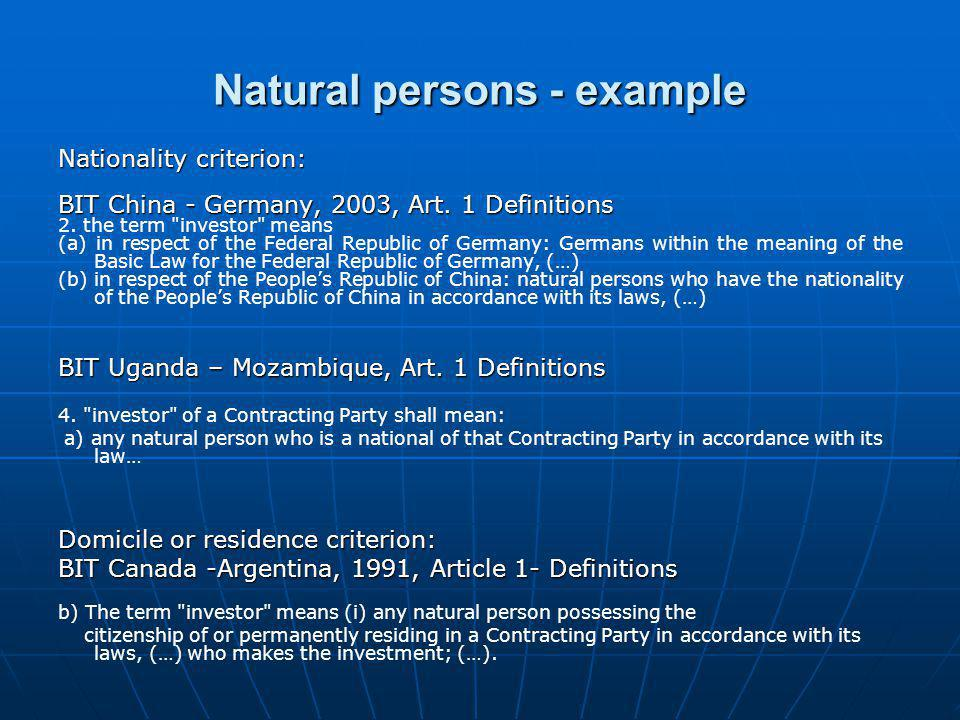 Natural persons - example