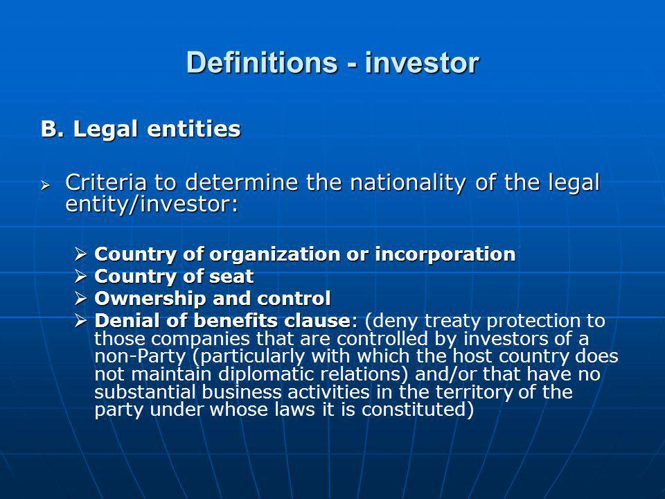 Definitions - investor