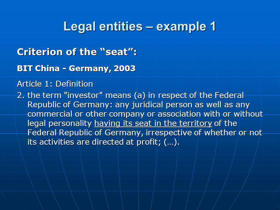 Legal entities – example 1