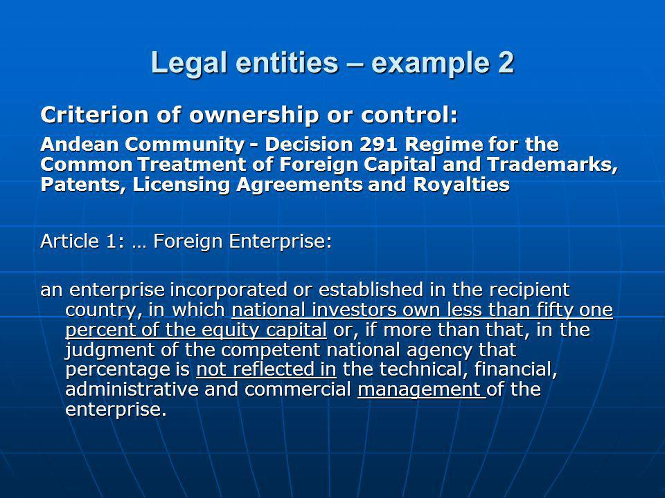 Legal entities – example 2