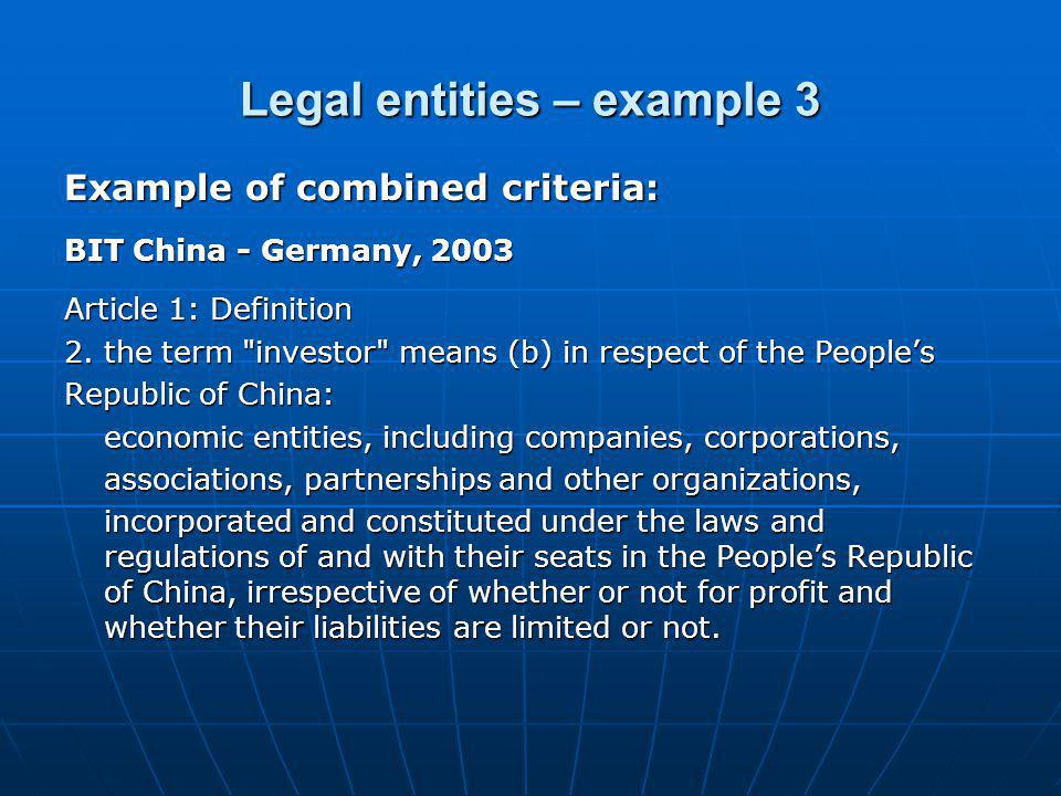 Legal entities – example 3