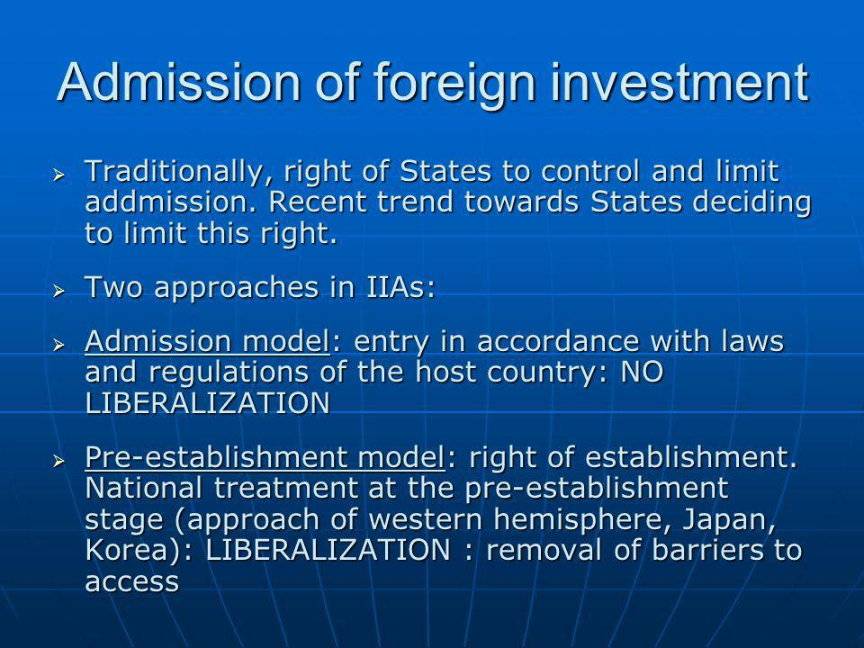 Admission of foreign investment