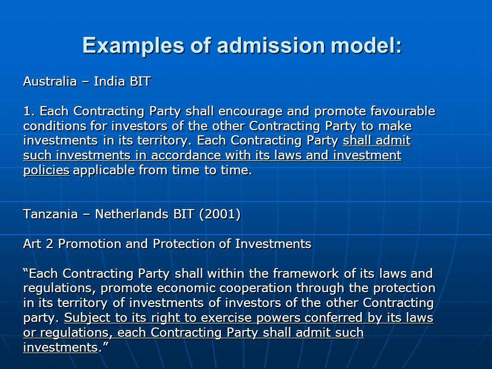 Examples of admission model: