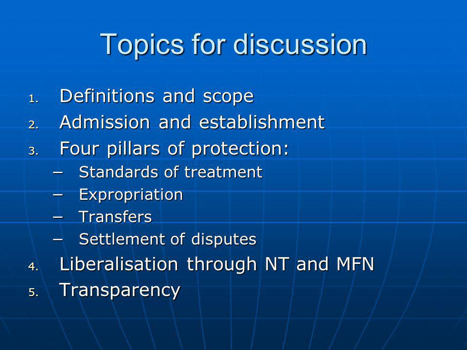 Topics for discussion Definitions and scope