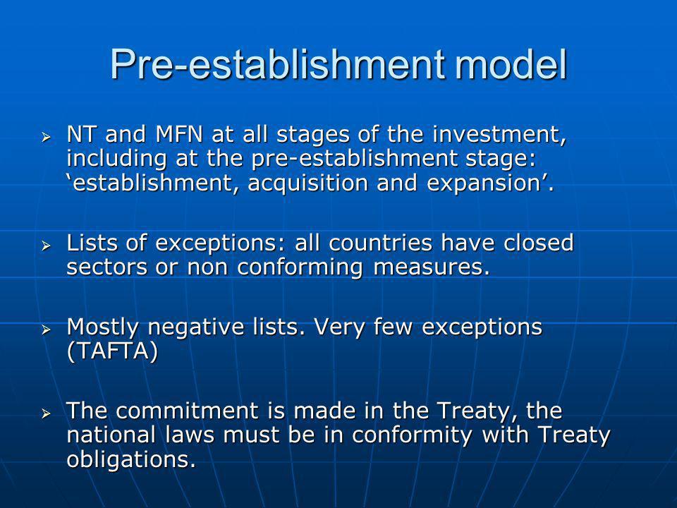 Pre-establishment model