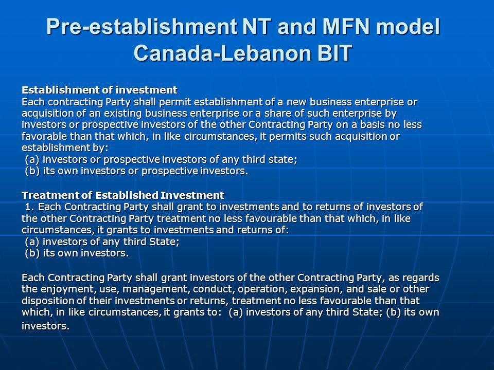 Pre-establishment NT and MFN model Canada-Lebanon BIT