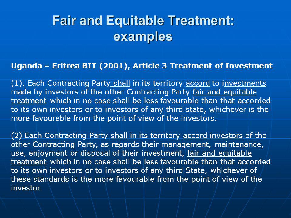 Fair and Equitable Treatment: examples