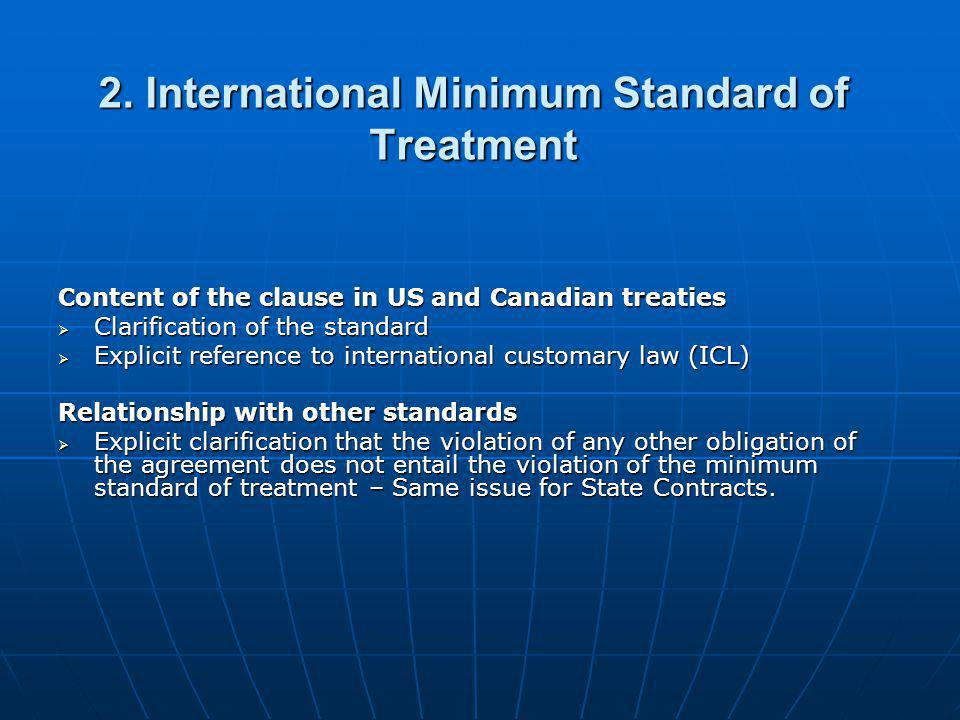 2. International Minimum Standard of Treatment