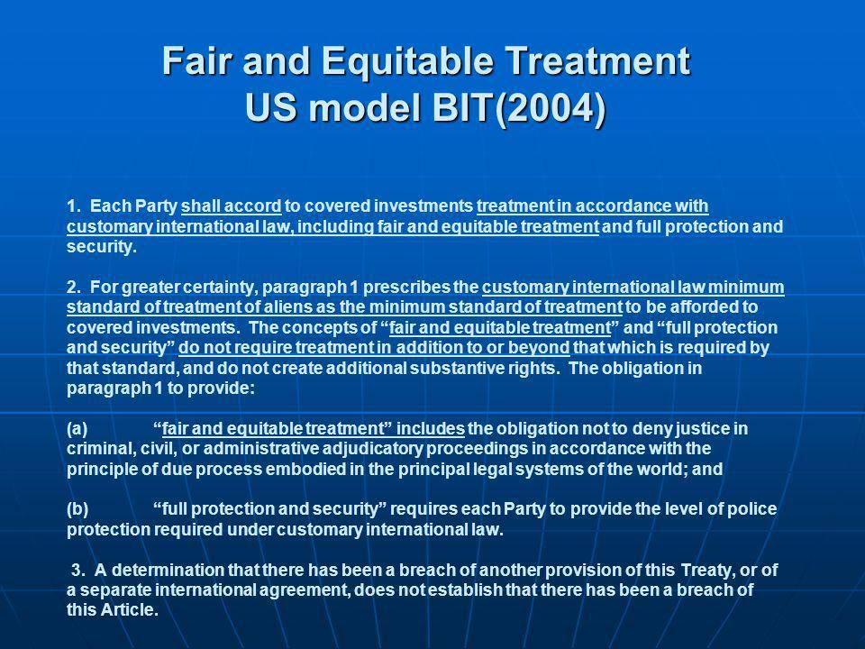 Fair and Equitable Treatment US model BIT(2004)