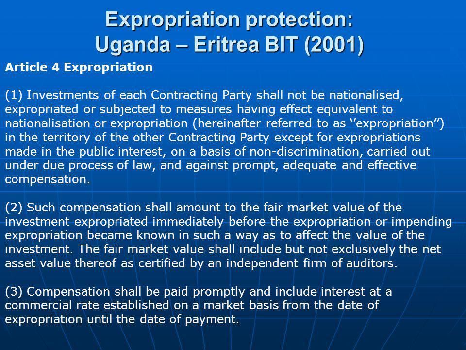 Expropriation protection: Uganda – Eritrea BIT (2001)
