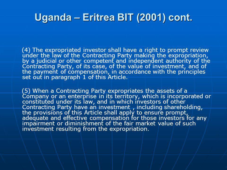 Uganda – Eritrea BIT (2001) cont.