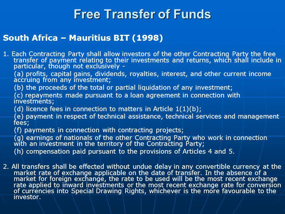 Free Transfer of Funds South Africa – Mauritius BIT (1998)