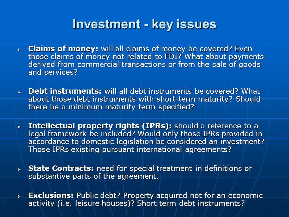 Investment - key issues