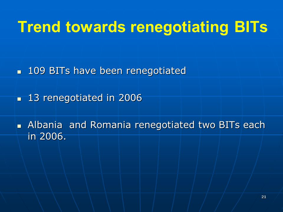 Trend towards renegotiating BITs