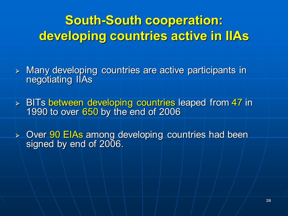 South-South cooperation: developing countries active in IIAs