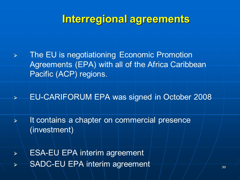 Interregional agreements