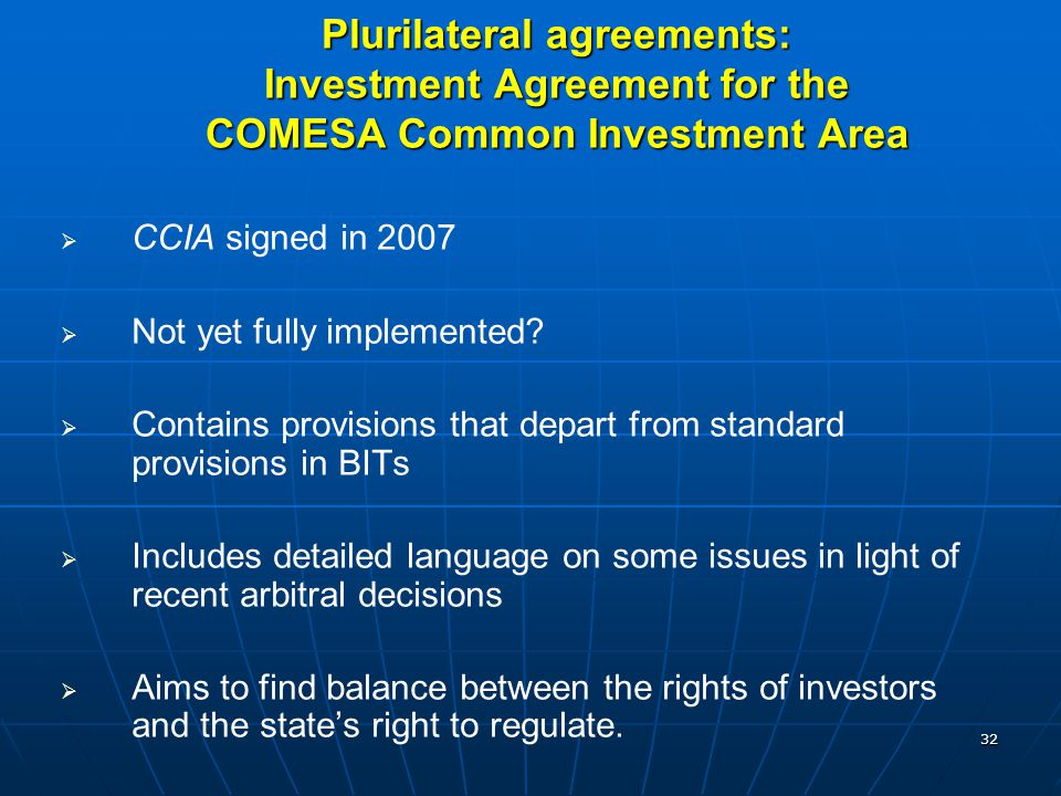 Plurilateral agreements: Investment Agreement for the COMESA Common Investment Area