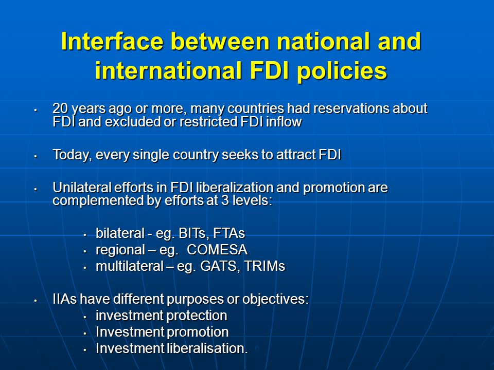 Interface between national and international FDI policies